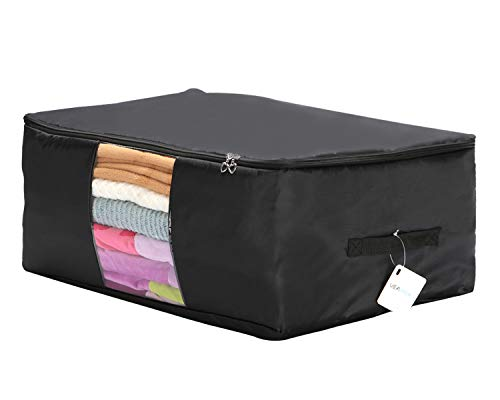 VEAMOR Oversize Beddings Comforter Storage Bags,(14 Color to Choose) Pillow/Blanket Clothes Organizer Storage Containers with Zippers,Breathable and Moistureproof (Black, XXL)