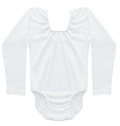 Dancina Leotard Classic Long Sleeve Girls Full Front Lined Comfortable Cotton Leo Bodysuit 6 White (Little Girl Cheerleaders)