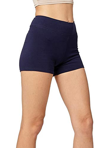 Premium Ultra Soft Stretch High Waisted Cotton Leggings for Women with Yoga Waistband - Short Shorts Navy Blue - XX-Large