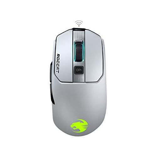 chollos oferta descuentos barato Roccat Kain 202 Aimo RGB Ratón inalámbrico para videojuegos 16 000 dpi sensor de ojo de búho 89G ultraligero tecnología Titan Clic color blanco