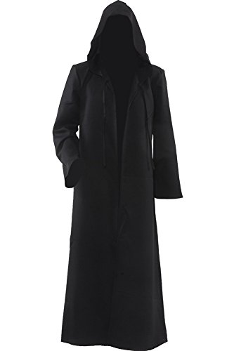 Cosplaysky Men Tunic Hooded Robe Halloween Costume Knight Cloak (Black, X-Large)