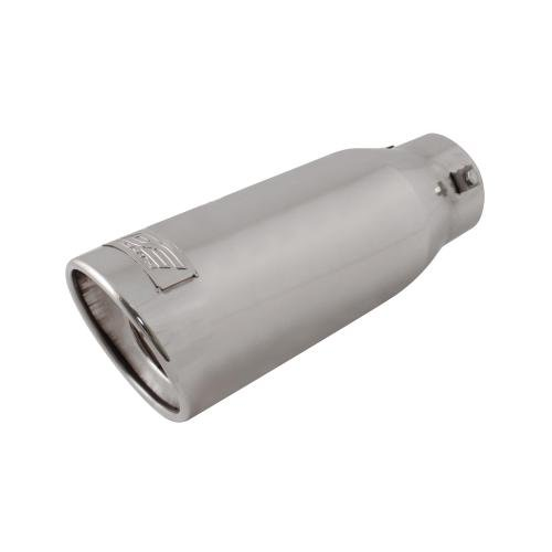 Resonated Bolt (DC Sport EX-1014 Stainless Steel Resonated Slant Cut Bolt-on Exhaust Tip)