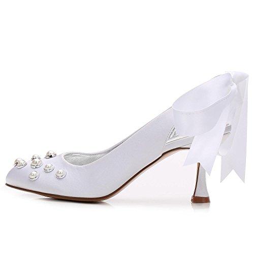 de a para Alto Zapatos Black YC de Satén Boda Novia de L 20 Zapatos y de E17061 Medida Verano Perla tacón Mujer S6IqH