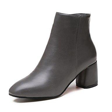 Plano De Menos Cremallera Mujer Fiesta Vestido Casual Paseo Gll Noche Otoño Botas Cms Gray Marrón Negro Formales Zapatos Tacón Pu 2'5 amp;xuezi Gris Y w5HORZ