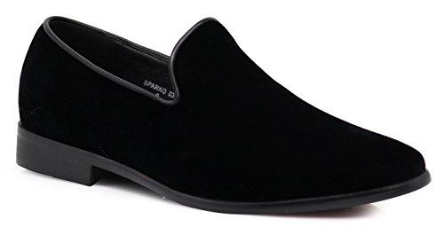 SPK03 Men's Vintage Plain Velvet Dress Loafers Slip On Shoes Classic Tuxedo Dress Shoes (10 D(M) US, Black)