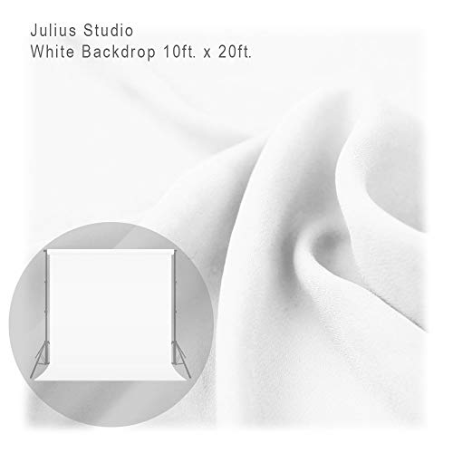 - Julius Studio 10 ft X 20 ft White Chromakey Photo Video Studio Fabric Backdrop, Background Screen, Pure White Muslin, Photography Studio, JSAG198