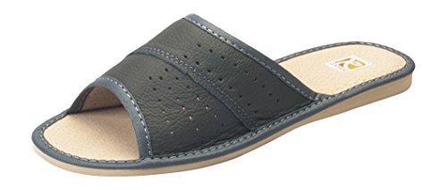 cuir 41 chaussons taille 36 authentique Femmes luxe Gris pantoufles confort qwnSqaO1