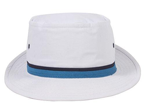 9650211bb2ad3 TOP HEADWEAR Packable Pork Pie Ribbon Bucket Hat - White - Medium