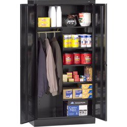 Tennsco 7214 24 Gauge Steel Standard Welded Combination Storage Cabinet, 5 Shelves, 150 lbs Capacity per Shelf (50 lbs per half shelf), 36'' Width x 72'' Height x 18'' Depth, Black by Tennsco