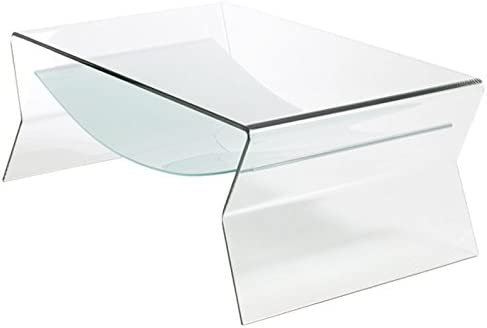 Fab Glass and Mirror Side Shelf, 1 2 Inch Thick Bent Glass Table, 49 , Clear