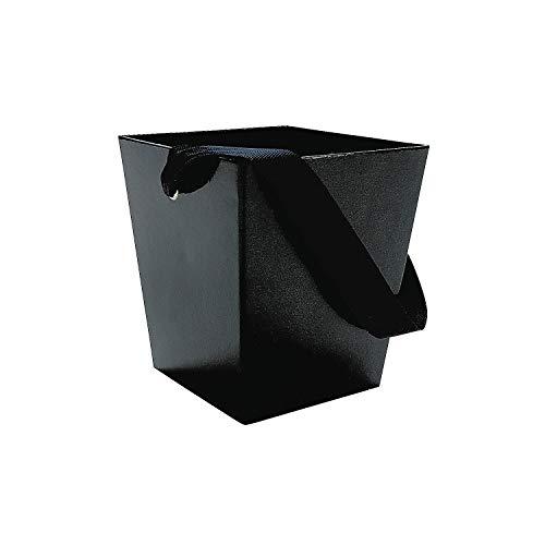 Fun Express Black Cardboard Bucket with Ribbon Handle (6 Piece) ()