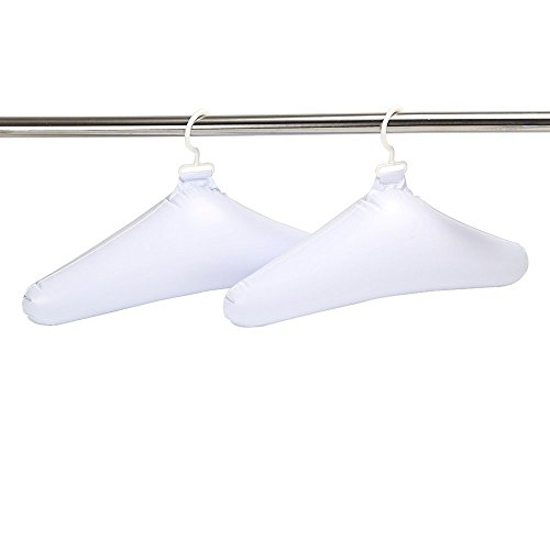 Deluxe Comfort Inflatable Travel Clothes Hanger - Rounded Edges Prevent Hanger Crease - Deflates For Compact Storage - Light Weight Easy On Closets - Clothes Hangers, White - Pack of 10