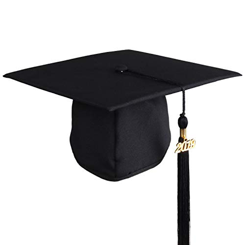 Graduation Cap 2019 Tassel Bachelor or High School Black Matte Unisex