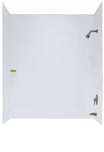 Swanstone SS-72-3-010 3-Piece Solid Surface 30-in x 60-in x 72-in Bathtub Wall Panel System, White (Bath Tub Walls & Surrounds)