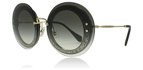 Miu Miu Women's Round Glitter Sunglasses, Transparent Glitter/Grey, One Size