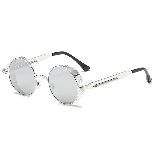 Steampunk Round Blanco de Mujer Plata Retro Mercurio sol Highdas Metal Estilo Gafas Polarized Circle hombres qtFpwE