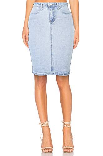 H HIAMIGOS Jupe en Jeans Femme Taille Haute Mi-Longue Jupe Crayon Jupe Moulante Dlav Extensible avec Fente sur Le derrire Bleu Dlav Clair