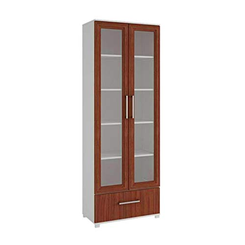 (BS Barrister Bookcase White and Brown Curio Cabinet with Glass Doors Bookshelf Wooden Cabinet Display 5 Shelves 1 Drawer Standard Bookcase Home Office Lawyers Accent Cabinet Free Standing Organizer)