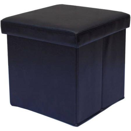 Mainstays Collapsible Storage Ottoman, Black