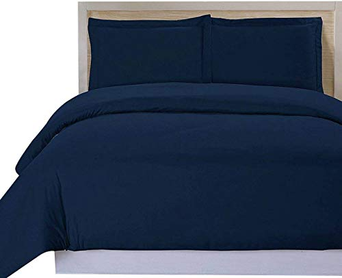 Soft Luxury 3PC Duvet Cover Set, Double Brushed Egyptian Cotton Hotel Collection 800 Series, Reliable Duvet Cover & 2 Pillow Cases, Navy Oxford Blue, Oversized Queen, 98