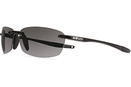 Revo Descend E RE 4060 01 GY Polarized Rectangular Sunglasses, Black, 64 - Revo N Descend Sunglasses