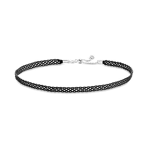 Pandora Jewelry - Adjustable Black Woven Fabric Slider Choker with Sterling Silver, 12.6 IN / 32 CM