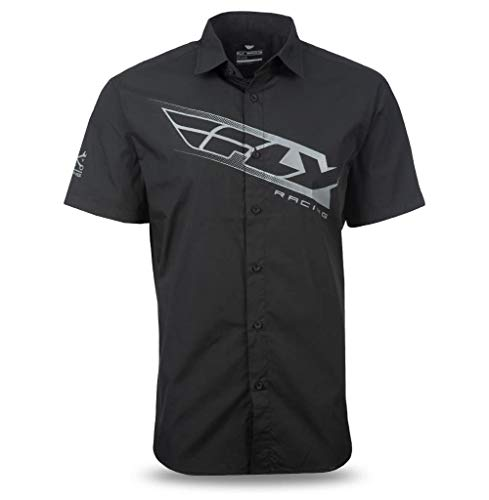 (Fly Racing Pit Button-Up Shirt Black/Gray (Black, Medium) )