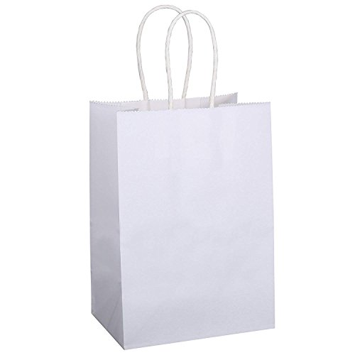 BagDream Kraft Paper Bags 100Pcs 5.25''x3.25''x8'', Party Bags, Shopping Bag, Kraft Bags, White Bags with Handles 100% Recyclable Paper by BagDream