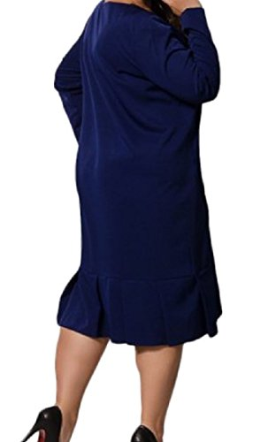 Confortables Poches Pour Femmes Pur Classique, Plus La Taille Couleur Mi Longueur Robe Bleu Foncé