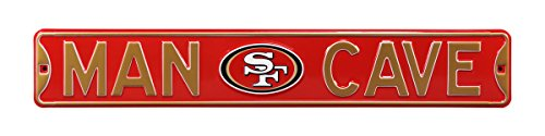 Fremont Die NFL, MAN CAVE, Officially Licensed, REAL 3 Foot, Premium Grade Solid SteelEmbossed STREET SIGN- Prime Wall Decor for Home, Office, Garage for Him!!