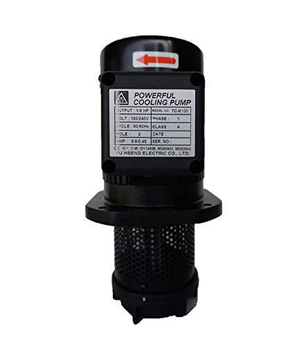 "1/8 HP Lathe BandSaw Machine Tool Circulation Coolant Pump,Immersion Length 100mm(4""), NPT 3/8"" Thread, Single 1 Phase 120/240V"