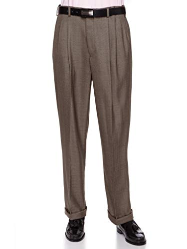 GIOVANNI UOMO Mens Pleated Front Dress Pants with Hidden Expandable Waist Taupe-42 - Pants Lined Flannel Dress