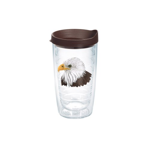 Tervis 1077671 Eagle Head Tumbler with Emblem and Brown Lid 16oz, Clear
