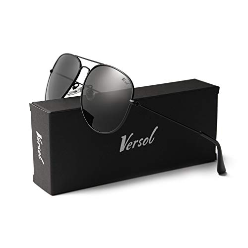 Versol Aviator Sunglasses for Men Women Polarized Metal Frame and UV 400 Protection 60mm - Premium Classic Style (Black Lens + Black)