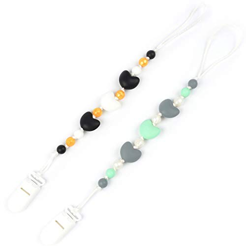 Nummy Beads Mint & Black/Gold Hearts Silicone Teething Pacifier Clip Leash 2pk