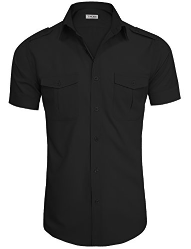 TAM WARE Mens Stylish Short Sleeve Plain Dress Shirts TWCMS20-BLACK-US L