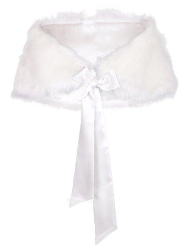 Flora pelo sintético con forro de raso novia robó/dama Wrap Cover Up/boda capa, código 48 Marfil