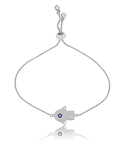 - THINK POSITIVE Hamsa Hand and Evil Eye Charms with Rhinestones Snake Chain 2 Gemstones Danglers Ball Clasp Adjustable Silver (TPS331-SILVER)