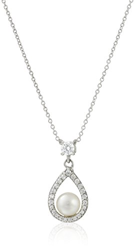 Platinum Plated Sterling Silver Cubic Zirconia Freshwater Cultured Pearl Pendant Necklace