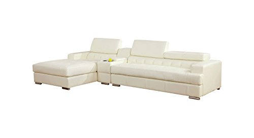 HOMES: Inside + Out IDF-6122WH-CT-SEC ioHOMES Sydell Bonded Leather Adjustable Headrest Sectional, White