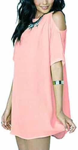 cf3da78d629 iZHH Dresses for Women Summer Loose Solid Off-Shoulder Casual Sundress Mini  Dress