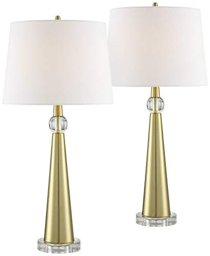 Neva Modern Table Lamp Gold Metal Column Crystal Accent Tapered Drum Shade for Living Room Bedroom Bedside Nightstand Office Family - 360 ()