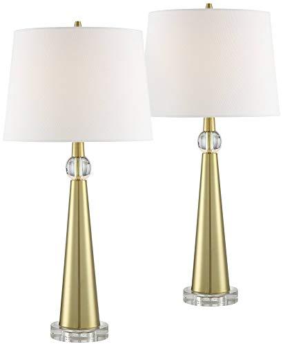 Neva Metal Tapered Column Table Lamp Set of ()