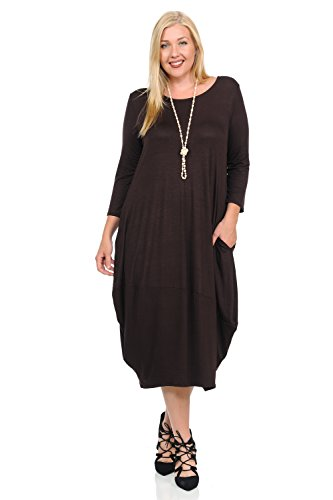 Pastel by Vivienne Women's Cocoon Midi Dress Plus Size XXX-Large Brown