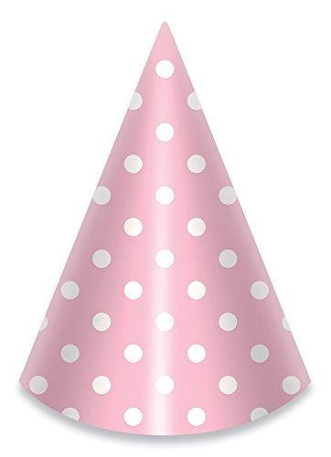 Craft Hat Cone - LolliZ Party Hats, Pink/Polka Dots, 12 Pcs. 6.5