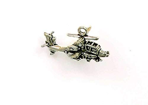 (Pendant Jewelry Making/Chain Pendant/Bracelet Pendant Sterling Silver 3-D Cobra Helicopter Charm )