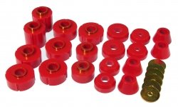 Prothane 7-106 Red Body and Cab Mount Bushing Kit - 20 Piece