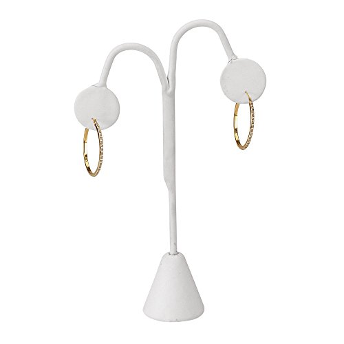 - SSWBasics White Faux Leather Earring Tree Display - Pack of 25