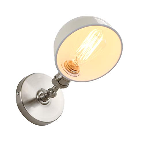 Phansthy1-Light Industrial Wall SconceVintage Style Indoor Sconce with Switch Mini 5.9 Inches Metal Shade (Cream) (Copper Wall Sconce Indoor)