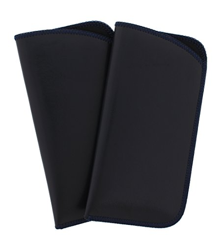2 Pack Soft Faux Leather Slip In Eyeglass Case, Fits Medium to Large Frames, Navy
